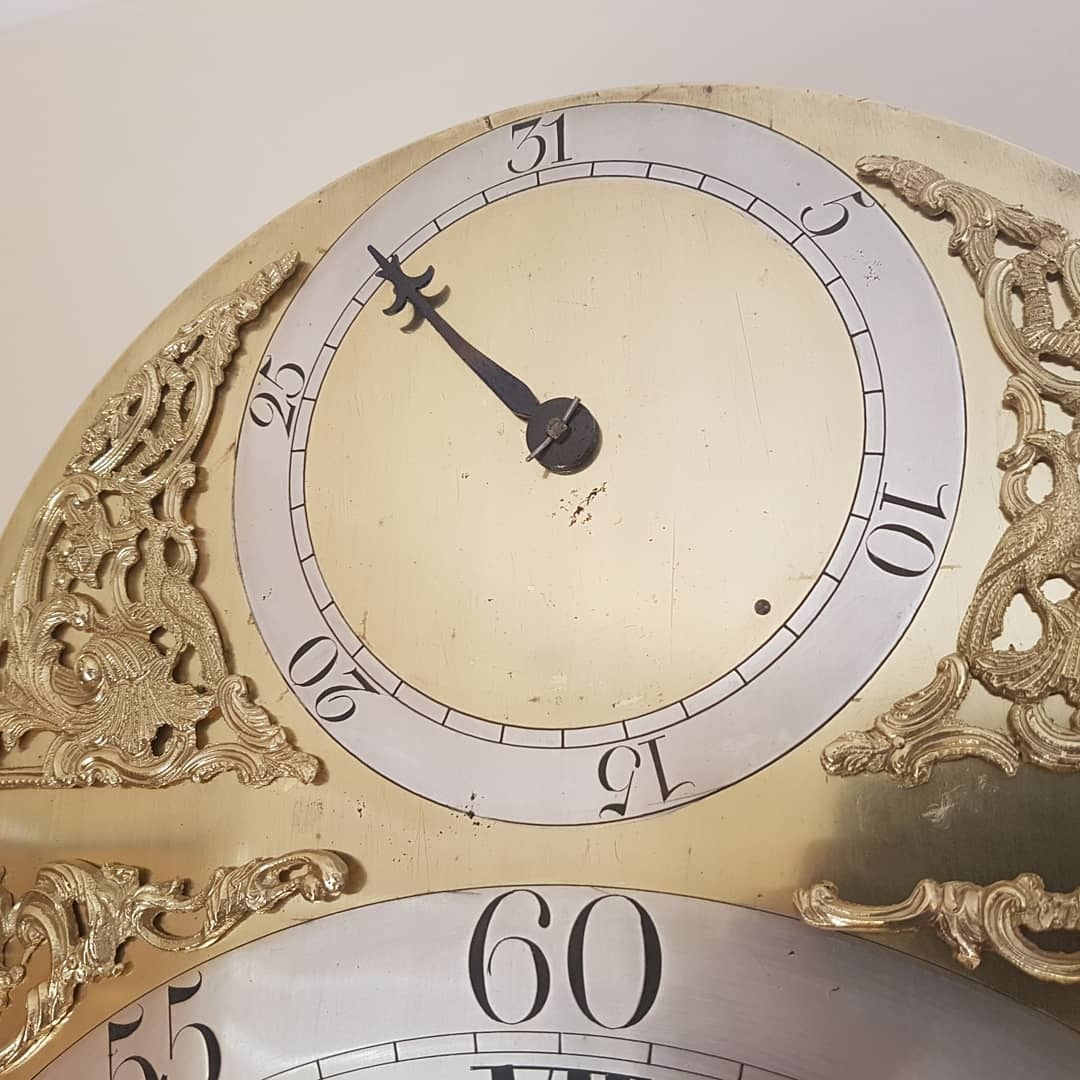 Longcase-clock-by-Webster-of-Salop dial detail